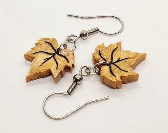 Resin Fall Leaf Dangle Earrings, Gold-Colored Autumn Leaves, Seasonal Earrings for Sensitive Ears
