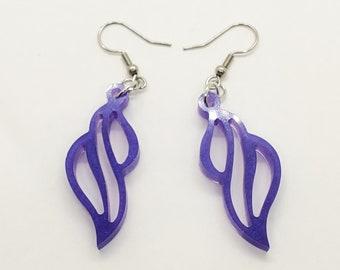 Dangle Resin Earrings, Sparkly Purple Earrings, Summer Jewelry