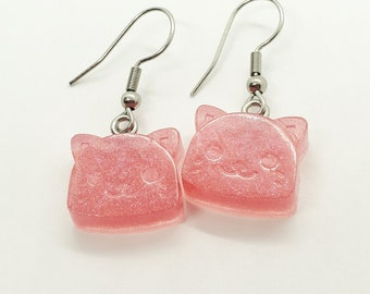 Sparkle Pink Cat Dangle Earrings, Lightweight Jewelry, Fun Gift for Girls