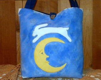 Bunny Over the Moon Tote Bag
