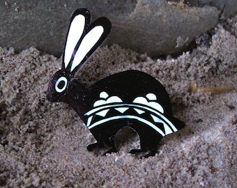 Black and White Petroglyph Bunny Pin, 1 1/2 by 1 1/4 inches