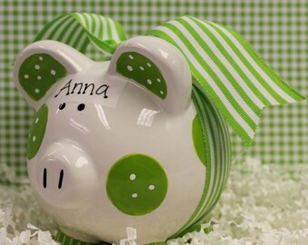 Piggy Bank Green Personalized and Hand Painted