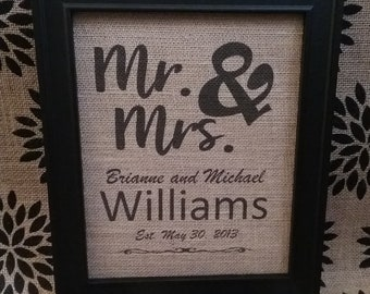 Mr & Mrs Burlap Sign