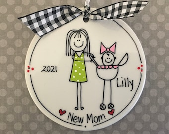 New or Best Mom Personalized Stick Figure Ornament