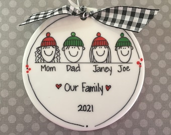 Family 2-6 Characters Christmas Hats Stick Figure Personalized Ornament