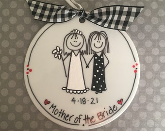 Mother of the Bride/Groom Personalized Stick Figure Ornament