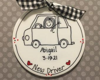 New Driver/Learners Permit/Sweet 16/Road Trip/Stick Figure Ornament/Personalized Ornament