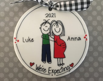 Expecting/Single mom/Pregnant Personalized Ornament/Stick Figure/Cartoon Ornament/We're Expecting