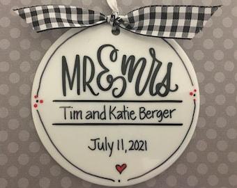 Wedding Mr & Mrs Personalized Ornament