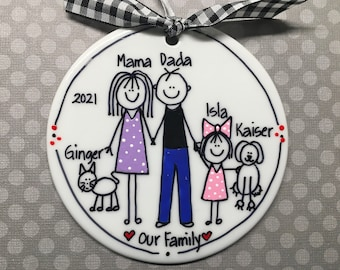 2 to 5 Family Stick Figure Personalized Ornament
