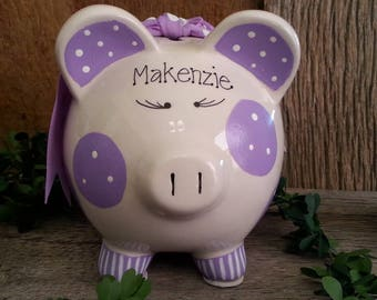Piggy Bank Purple Personalized and Hand Painted