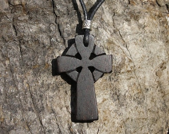 Celtic Wooden Cross Necklace, Unique Rosewood Celtic Cross Pendant For Men, Hand Carved Wood Gift From Ireland