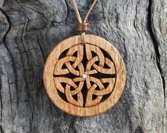 Dara Knot Pendant, Irish Chestnut Celtic Knot Pendant, Hand Carved Celtic Necklace, Unique Wooden Irish Gift