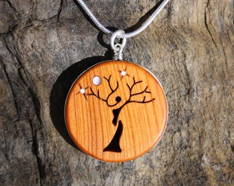 Tree Of Life Wooden Pendant, Handcarved Pagan Tree Lady Necklace On Sterling Silver, Irish Yew Wood Woman Tree Pendant, Unique Irish Gift
