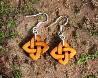 Handcarved Celtic Love Knot Earrings, Irish Yew Wood Celtic Knot Earrings, Perfect 5th Anniversary Gift From Ireland