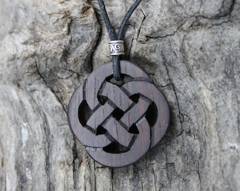 Rosewood Celtic Knot Necklace, Hand Carved Celtic Wooden Pendant, Unique Irish Gift For Men, Perfect Wood Anniversary Gift Made In Ireland