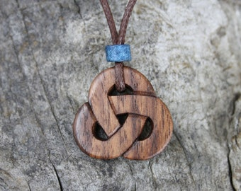 Celtic Triquetra Necklace, Hand-carved Walnut Trinity Knot pendant, Unique Celtic Wooden Gift Hand Made In Ireland, Druid Necklace For Him