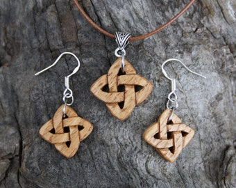 Celtic Knot Wooden Jewelry Set, Irish Chestnut Celtic Love Knot Necklace And Earrings Celtic Jewelry Set, 5th Anniversary Gift From Ireland