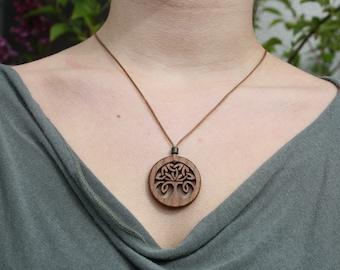 Irish Elm Celtic Tree Of Life Knot Pendant, Hand Carved Celtic Tree Knot Wooden Necklace, Handmade Irish Gift
