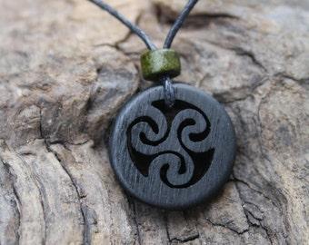 Irish Bog Oak Handcarved Celtic Triskele Necklace, A piece of Ireland, 5000 Year Old Irish Bog Oak Celtic Necklace, Irish Gift For Men