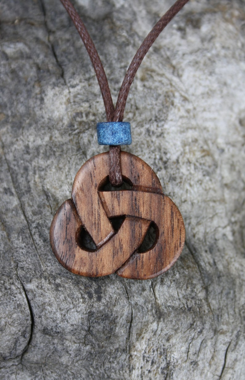 Druid Necklace For Him Celtic Triquetra Necklace Unique Celtic Wooden Gift Hand Made In Ireland Hand-carved Walnut Trinity Knot pendant