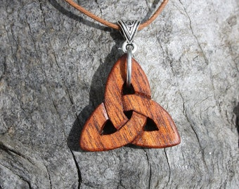 Rosewood Celtic Infinity Pendant, Hand-carved Trinity Knot Necklace, Unique Celtic Wood Jewelry Made In Ireland, Irish Roots Gift