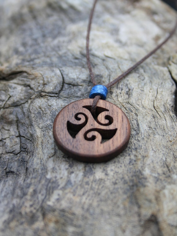 Walnut Spiral Triskele Necklace Hand Carved Celtic Wood Pendant For Men Unique Irish Gift For Him Made In Ireland