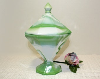 Westmoreland Glass Green Slag, Green Slag Glass, Covered Candy Dish, Covered Compote, Art Glass, Vintage 1970's Glass, Marbled Green Swirl