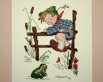 Hummel Cross Stitch, Finished Framed, Completed Needlework, Retreat to Safety, Boy and Frog, Vintage Cross Stitch, 1980's Needlework