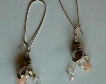 crystal pink jade flower earrings