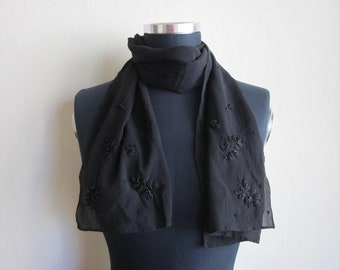 Black raw Silk beaded scarf