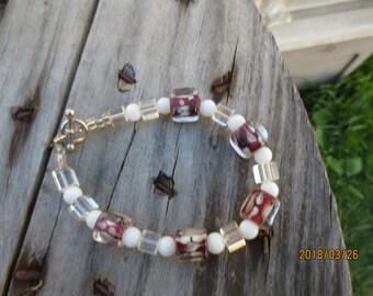 Rootbeer float glass cube bead bracelet