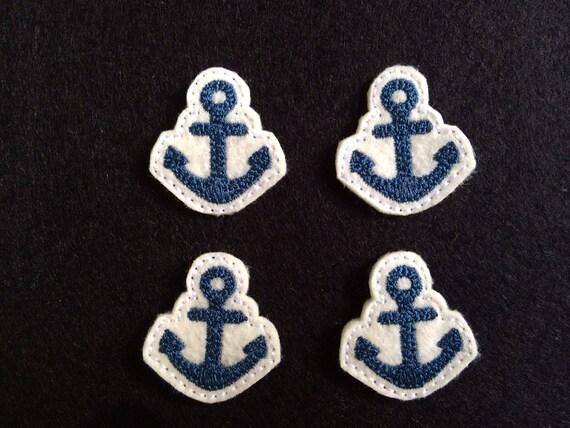 Azul Marino y motivo de ancla de plata//apliques de hierro en
