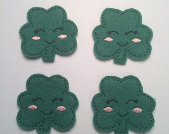 Happy Green Shamrock St. Patrick's Day Embroidered Felt Applique