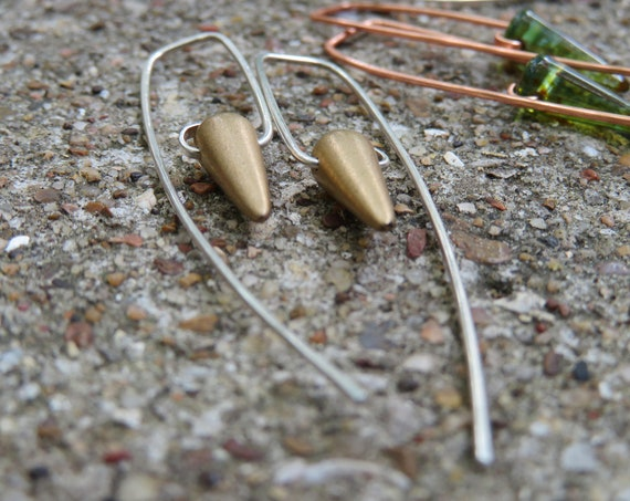 En Pointe Midi - minimalist Czech glass spike bead earrings - matte gold on sterling- ready to ship