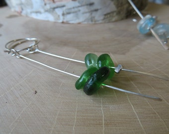 Explore: Ghana - long sterling dangle earrings with sand cast recycled glass beads - ready to ship