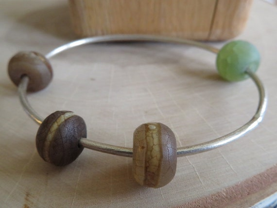 Orbital - banded agate and crackled jade beads on a matte sterling bangle bracelet - ready to ship