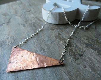 Right Angle - copper and sterling mini-bib necklace, OOAK - ready to ship