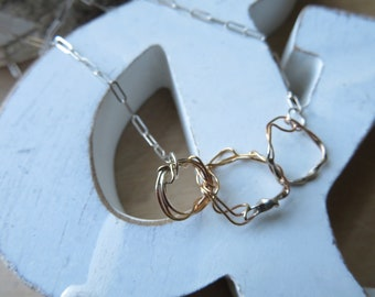 Wreathed - gold fill and sterling necklace - made to order