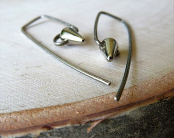 En Pointe Petit - minimalist Czech glass tiny spike bead earrings on sterling or 14K gold fill wires - ready to ship