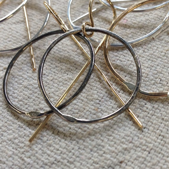 Just Right Ovals - dangling hoop earrings in a choice of metals - made to order