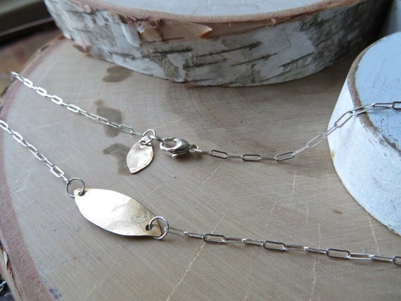 Leaf - gold fill and sterling necklace - ready to ship
