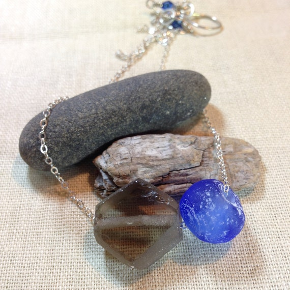 Hexed - recycled smoke and blue glass and sterling sliding chain necklace - ready to ship