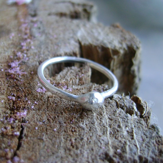 Pebble - freeform sterling pebble stacking ring on a sterling or gold fill band - made to order