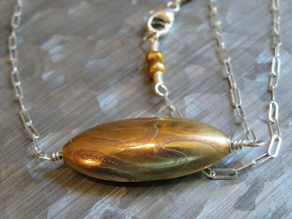 Undulate - etched brass, freshwater pearl and sterling silver necklace  - ready to ship
