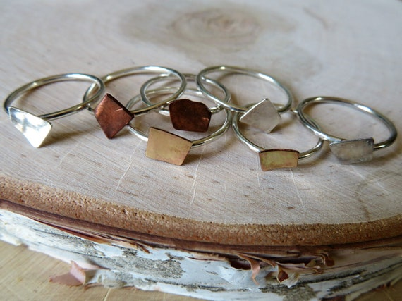 Snippets - stacking ring with hand cut sterling, copper or gold fill shapes on a sterling or gold fill band - made to order