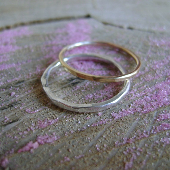 Short Stack - simple pair of stacking rings in sterling and gold fill - made to order