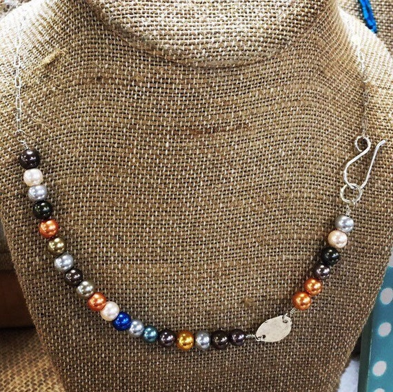 Blue Note - multicolor glass pearl and sterling necklace - OOAK - ready to ship