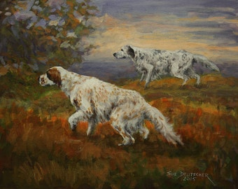 English Setter print from painting