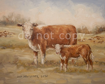 Cow Cattle Heifer Calf Hereford print from painting 11x14 inches or you choose the size - free shipping